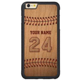 Béisbol número 24 con su nombre - deportivo de funda de cerezo bumper carved® para iPhone 6 plus