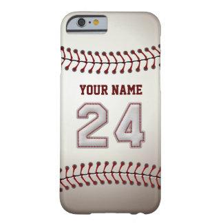 Béisbol número 24 con su nombre - deportivo funda de iPhone 6 barely there