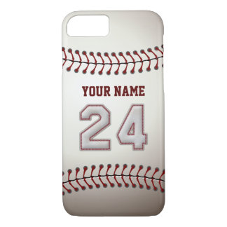 Béisbol número 24 con su nombre - deportivo funda iPhone 7