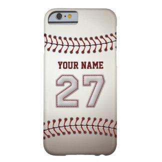 Béisbol número 27 con su nombre - deportivo funda de iPhone 6 barely there