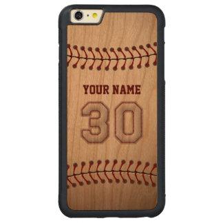 Béisbol número 30 con su nombre - deportivo de funda de cerezo bumper carved® para iPhone 6 plus