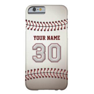Béisbol número 30 con su nombre - deportivo funda de iPhone 6 barely there