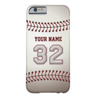 Béisbol número 32 con su nombre - deportivo funda de iPhone 6 barely there