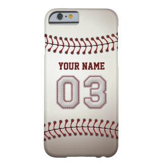 Béisbol número 3 con su nombre - deportivo moderno funda de iPhone 6 barely there