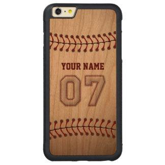 Béisbol número 7 con su nombre - deportivo de funda de cerezo bumper carved® para iPhone 6 plus