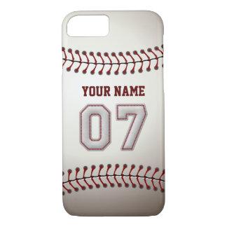 Béisbol número 7 con su nombre - deportivo moderno funda iPhone 7