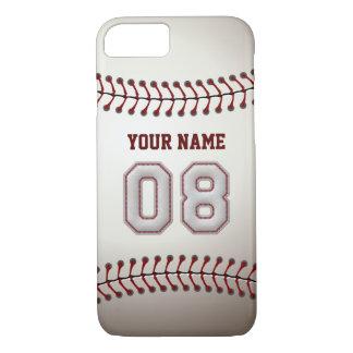 Béisbol número 8 con su nombre - deportivo moderno funda iPhone 7