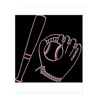Béisbol, palo y guante tarjetas postales