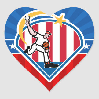 Béisbol Pegatina En Forma De Corazón