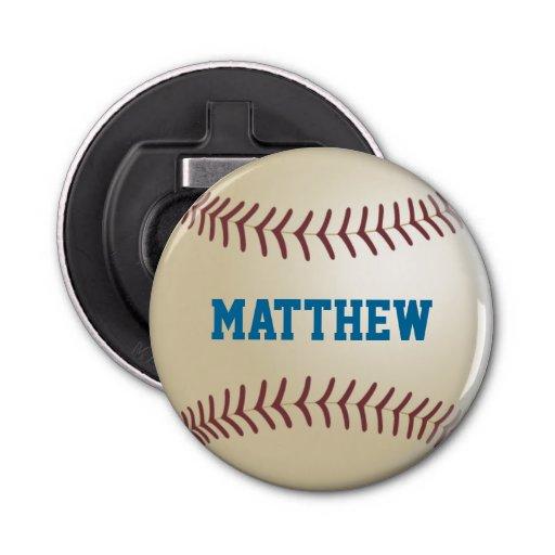 Béisbol personalizado abrebotellas redondo