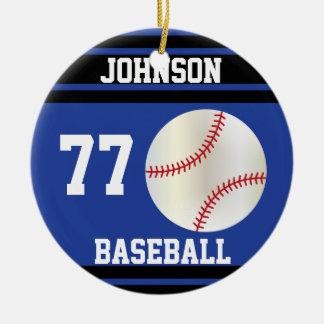 Béisbol personalizado el | azul marino y negro adorno navideño redondo de cerámica