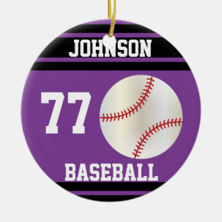 Béisbol personalizado el | púrpura y negro adorno navideño redondo de cerámica