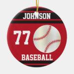 Béisbol personalizado el   rojo oscuro y negro ornamentos de reyes