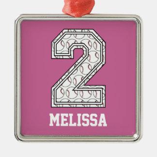 Béisbol personalizado número 2 adorno navideño cuadrado de metal