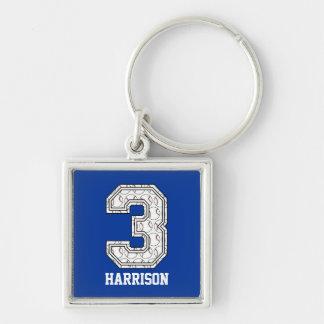 Béisbol personalizado número 3 llavero personalizado