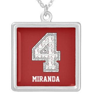Béisbol personalizado número 4 collar personalizado