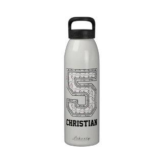 Béisbol personalizado número 5 botella de beber