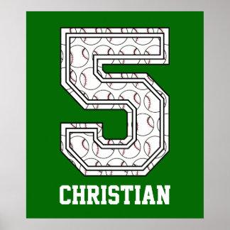 Béisbol personalizado número 5 posters
