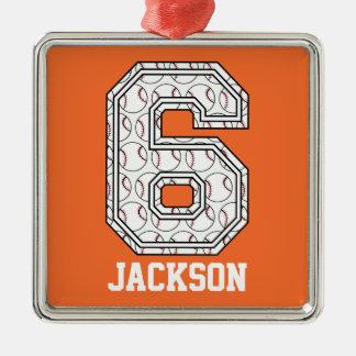Béisbol personalizado número 6 adorno navideño cuadrado de metal