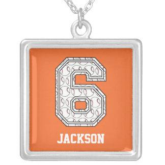 Béisbol personalizado número 6 collar personalizado