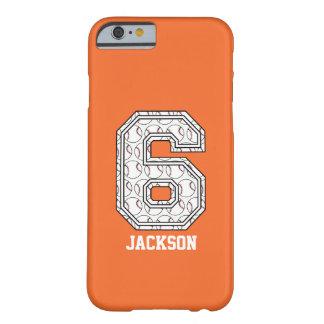 Béisbol personalizado número 6 funda de iPhone 6 barely there