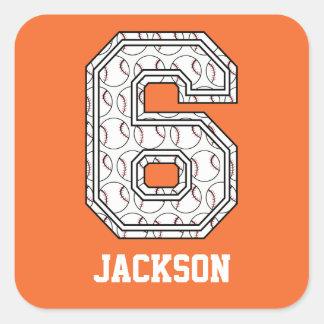 Béisbol personalizado número 6 calcomanía cuadrada personalizada