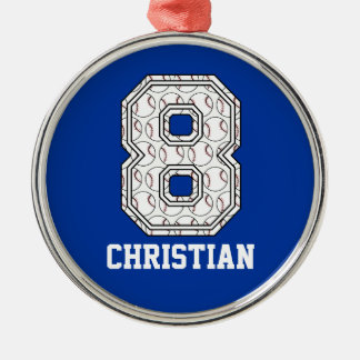 Béisbol personalizado número 8 adorno navideño redondo de metal