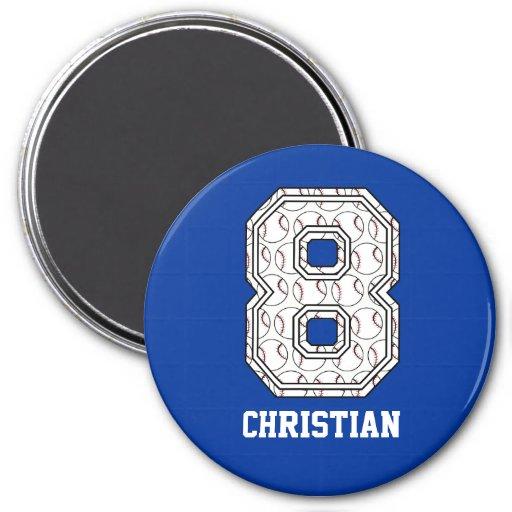 Béisbol personalizado número 8 imán para frigorifico