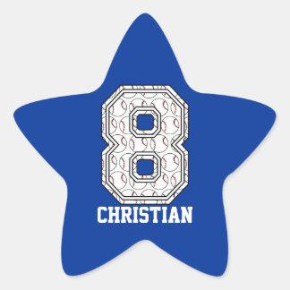 Béisbol personalizado número 8 pegatina en forma de estrella