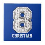 Béisbol personalizado número 8 teja cerámica