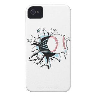 béisbol potente que rasga a través iPhone 4 Case-Mate carcasa