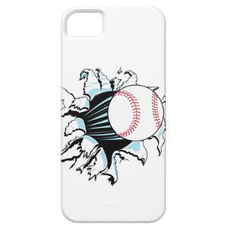 béisbol potente que rasga a través iPhone 5 fundas