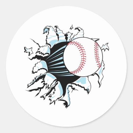 béisbol potente que rasga a través pegatina redonda