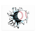 béisbol potente que rasga a través postal