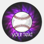 Béisbol púrpura; Softball Pegatina Redonda