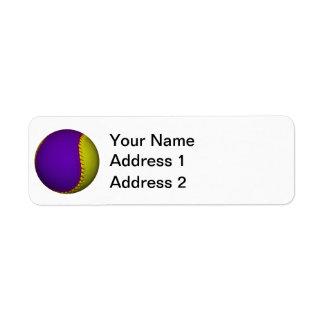 Béisbol púrpura y amarillo etiquetas de remite