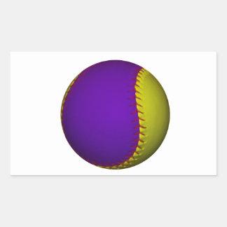Béisbol púrpura y amarillo pegatina rectangular