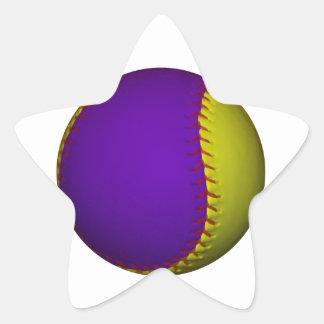 Béisbol púrpura y amarillo pegatina en forma de estrella