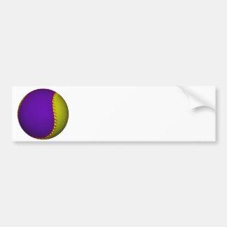 Béisbol púrpura y amarillo pegatina para auto