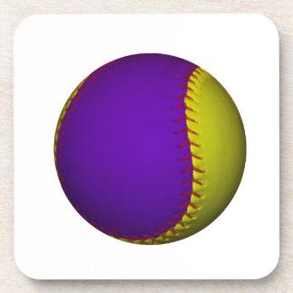 Béisbol púrpura y amarillo posavasos