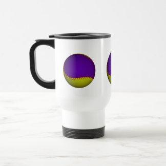 Béisbol púrpura y amarillo taza de viaje de acero inoxidable