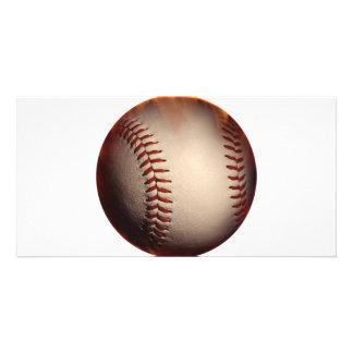 Béisbol que aparece en el fuego plantilla para tarjeta de foto