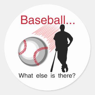 Béisbol qué más camisetas y regalos pegatina redonda