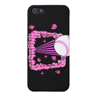 béisbol que se rompe a través de chicas rosados wa iPhone 5 carcasas