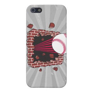 béisbol que se rompe a través de la pared de ladri iPhone 5 fundas