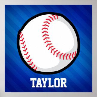 Béisbol; Rayas azules reales Póster