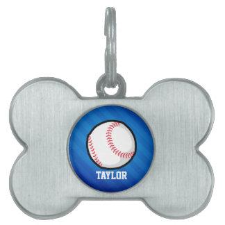 Béisbol; Rayas azules reales Placa De Mascota