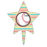 Béisbol; Rayas brillantes del arco iris Decoración Para Tarta