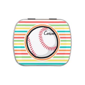 Béisbol Rayas brillantes del arco iris Frascos De Caramelos