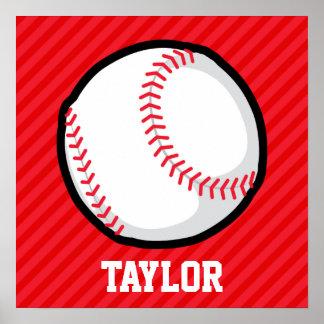 Béisbol; Rayas del rojo del escarlata Póster